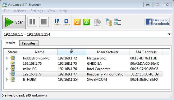 Advanced Ip Scanner Raspberry Pi