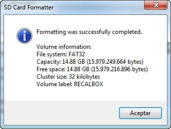 Informacion, capacidad de la tarjeta SD formateada