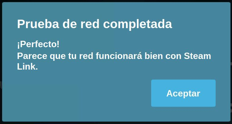 Steam Link Raspbian Prueba de Red Completada
